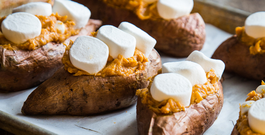 Twice Baked Sweet Potatoes Recipe | Campfire Marshmallows