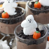 Ghostly Pudding Cups // Ghoster Roaster Marshmallows