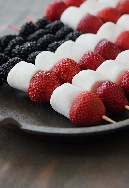 4th of July Marshmallow Fruit Kabobs