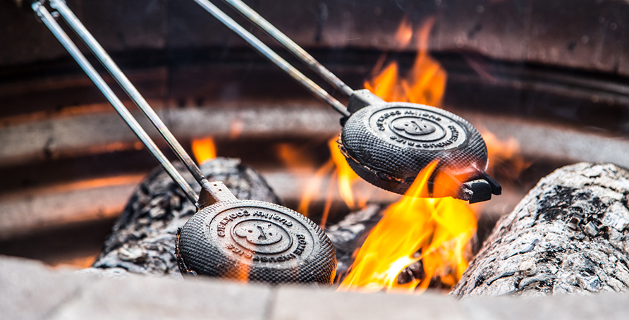 Smores Pudgy Pies over Fire