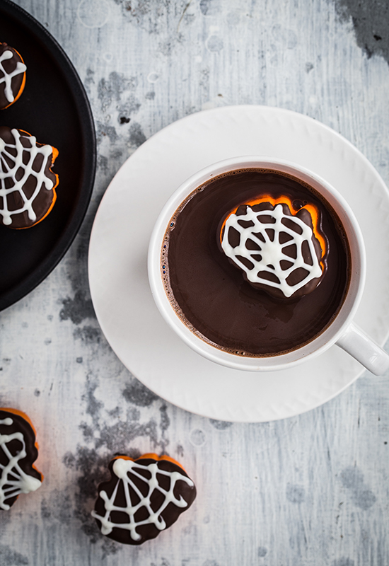 Spider Dipped Hallow Mallows in Hot Chocolate
