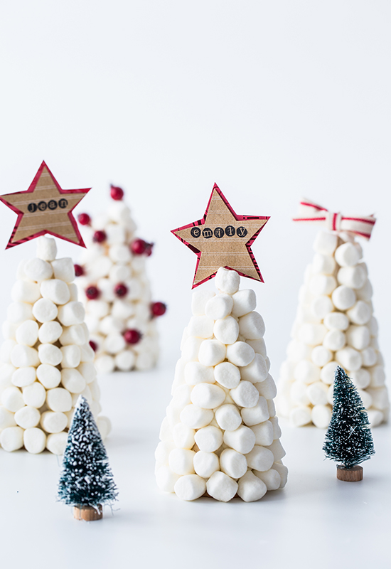Marshmallow Trees Christmas Table Place Cards