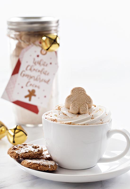 White Chocolate Gingerbread Cocoa Mix and mug of cocoa