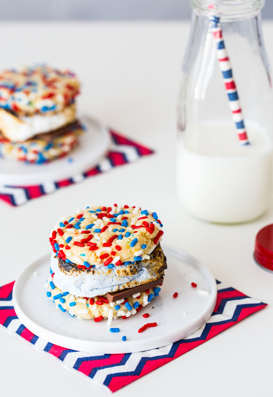 Funfetti Cookie S'mores with milk