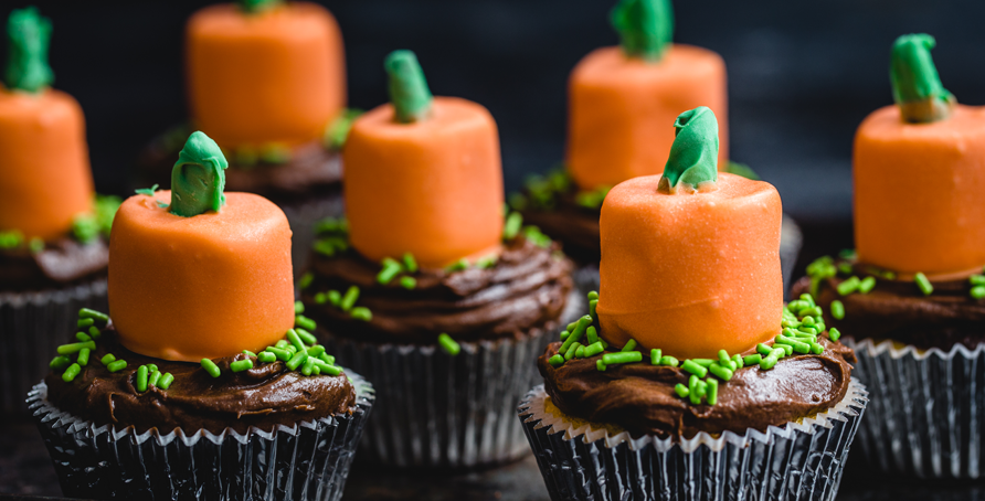 Marshmallow Pumpkin Cupcake Toppers
