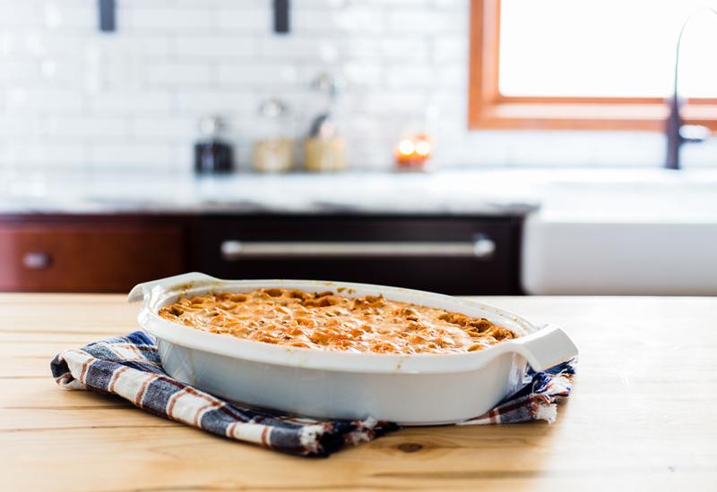 Marshmallow Pecan Sweet Potato Casserole on counter
