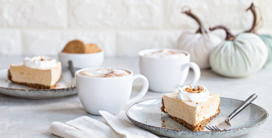 Marshmallow Pumpkin Pie slices with coffee