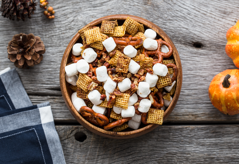 Pumpkin Spice Snack Mix in bowl