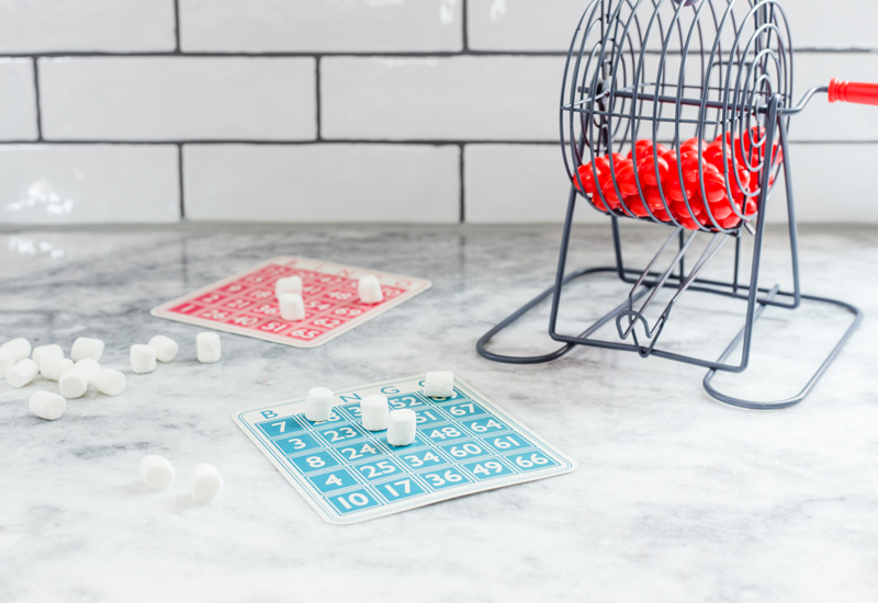 Bingo cards with mini marshmallows