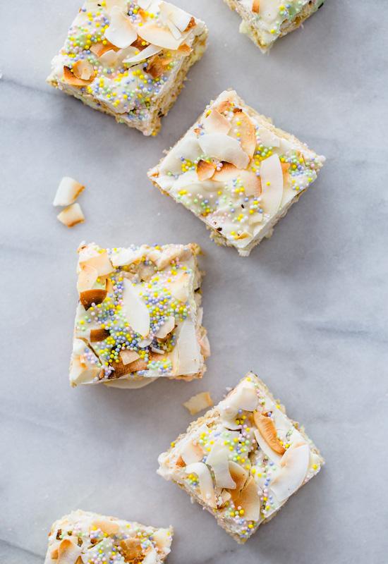 row of Toasted Coconut Marshmallow Treats