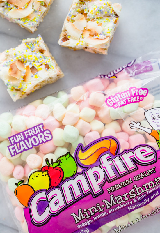 Campfire mini fruit marshmallows with cereal treats
