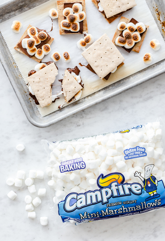 Gluten Free Graham Crackers made into s'mores with Campfire Marshmallows