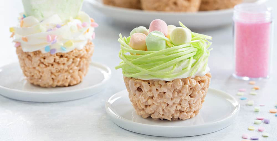 cereal treat cupcakes decorated for Easter