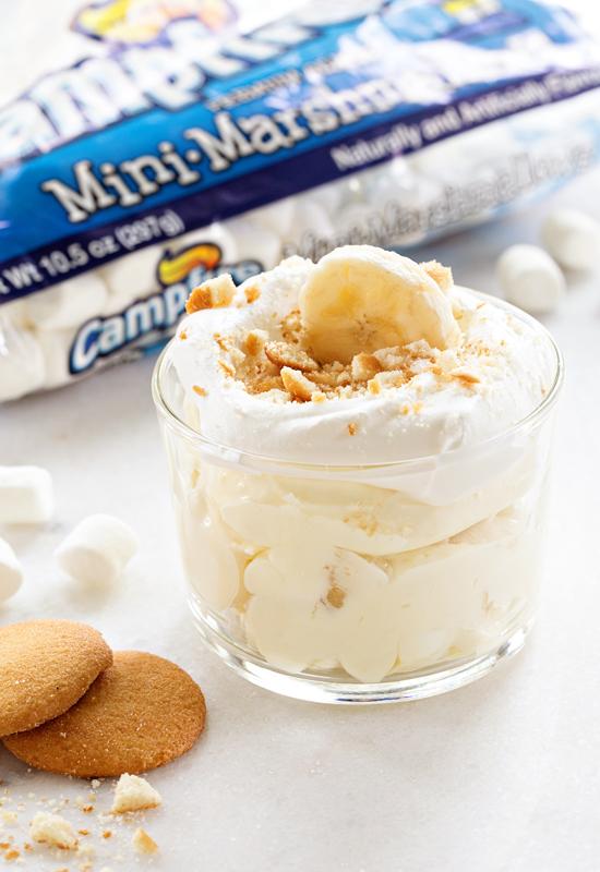Banana Cream Pie Fluff in glass dish with Campfire marshmallows bag