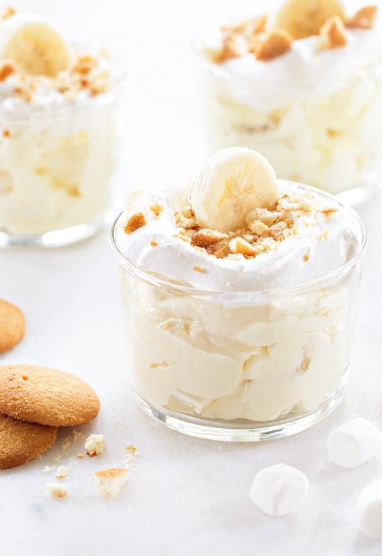Banana Cream Pie Fluff with marshmallows and vanilla wafers