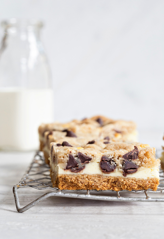 Cookie Dough Cheescake Bars on wire rack