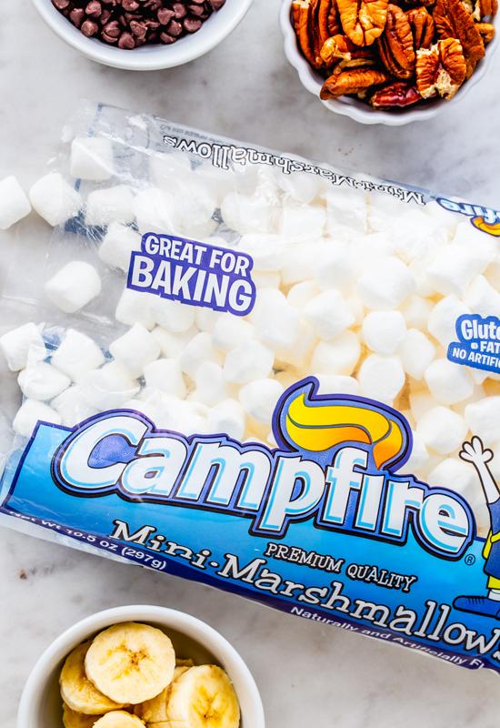 mini marshmallows, chocoaltechips, pecans and banana slices