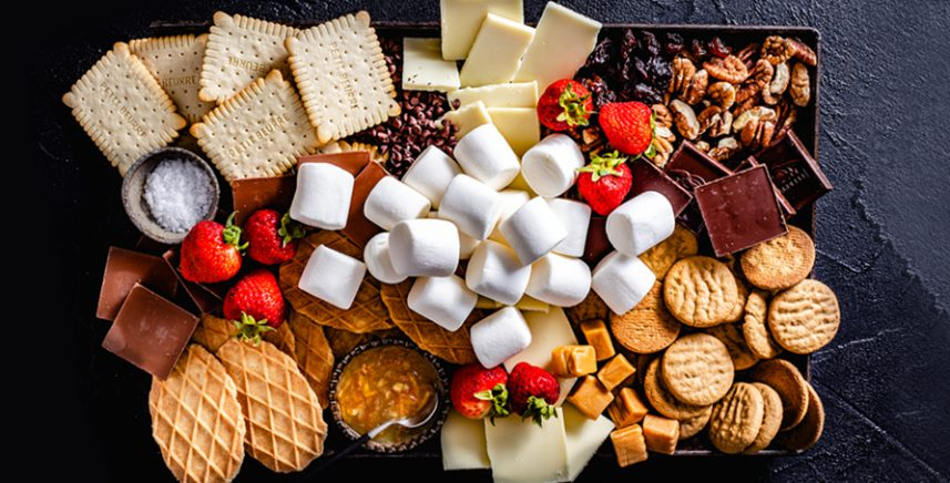 S'mores Party Platter wit chocolates, crackers, cookies, strawberries and marshmallows