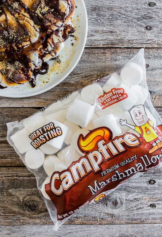 smores french toast with bag of Campfire Marshmallows