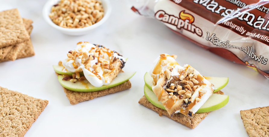 Caramel Apple S'mores with Campfire marshmallows