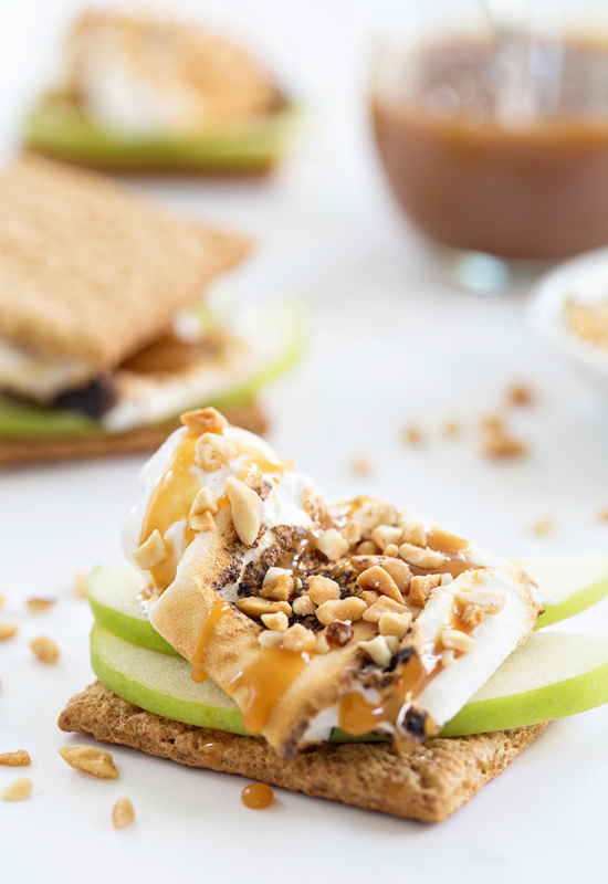 close up of Caramel Apple S'mores with nuts