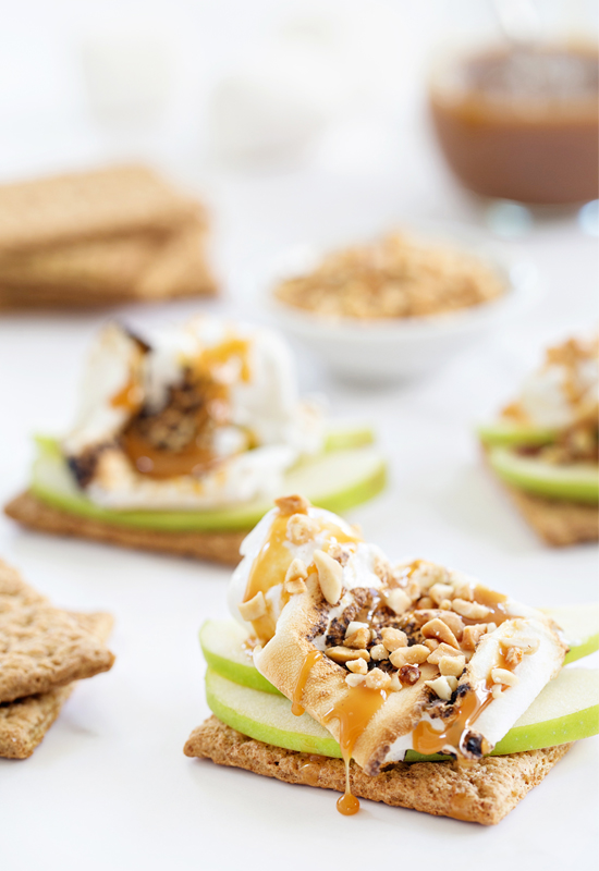 Caramel Apple S'mores with graham crackers