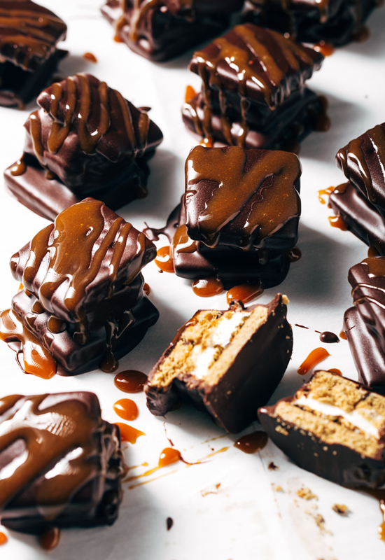 Chocolate Covered Caramel S'mores on parchment paper