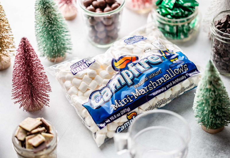 Campfire mini marshmallow package with a Holiday Hot Chocolate Bar