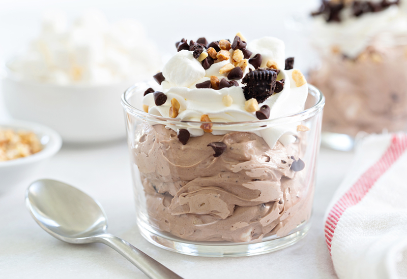 Rocky Road Fluff with spoon and tea towel
