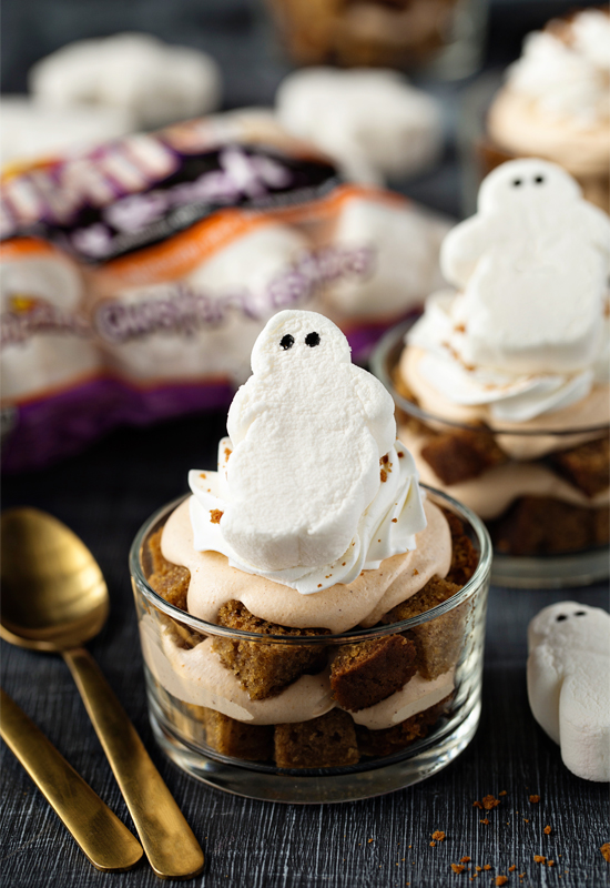 pumpkin trifles with Ghoster Roaster marshmallows on top