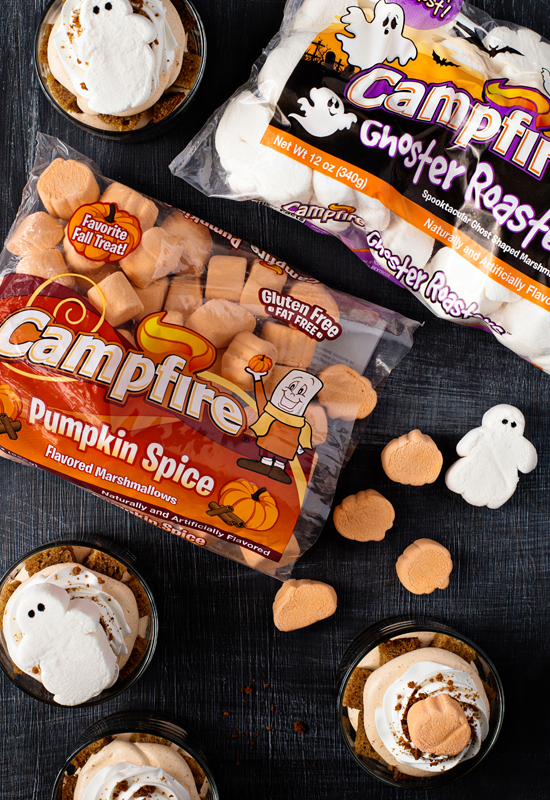 pumpkin trifles with packages of Ghoster Roasters and Pumpkin Spice marshmallows