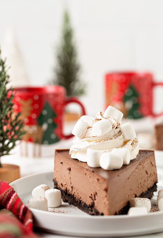 Hot Cocoa Cheesecake on holiday table