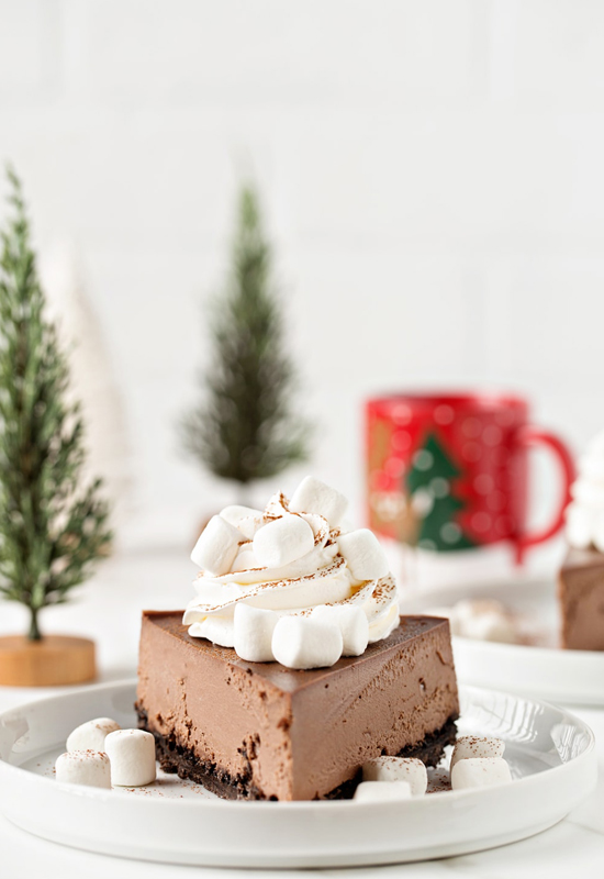 Hot Cocoa Cheesecake with holiday decorations