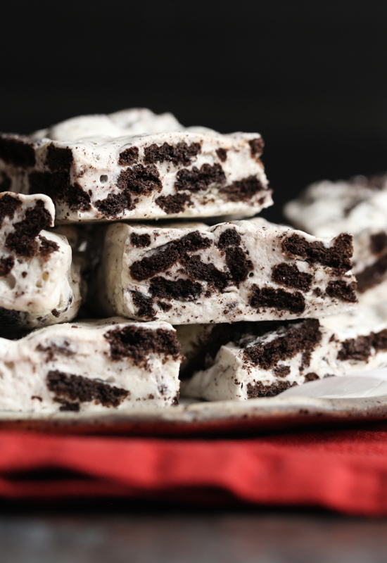 stack of cookies cream marshmallow bars on plate