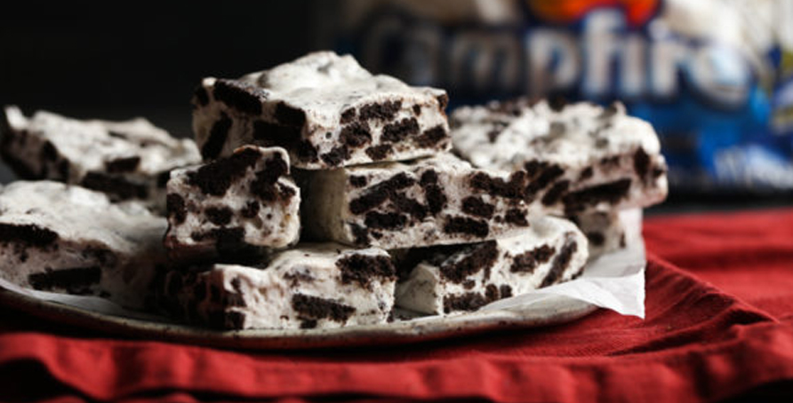stack of cookies and cream marshmallow bars