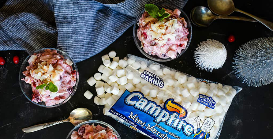 cranberry millionaire salad with Campfire mini marshmallows, spoons and tea towel