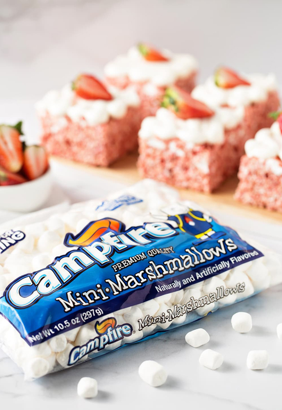 Strawberry Rice Krispie Treats with a package of Campfire Mini Marshmallows