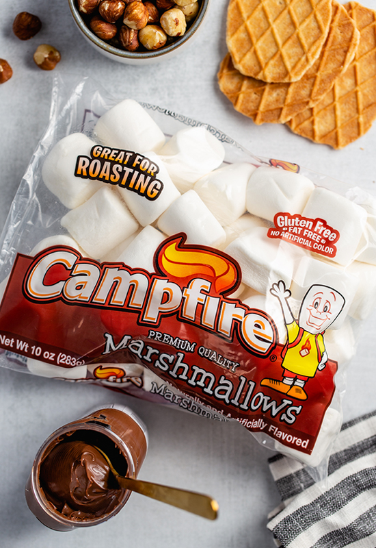 Campfire marshmallows, Nutella, Hazelnuts and Waffle cookies