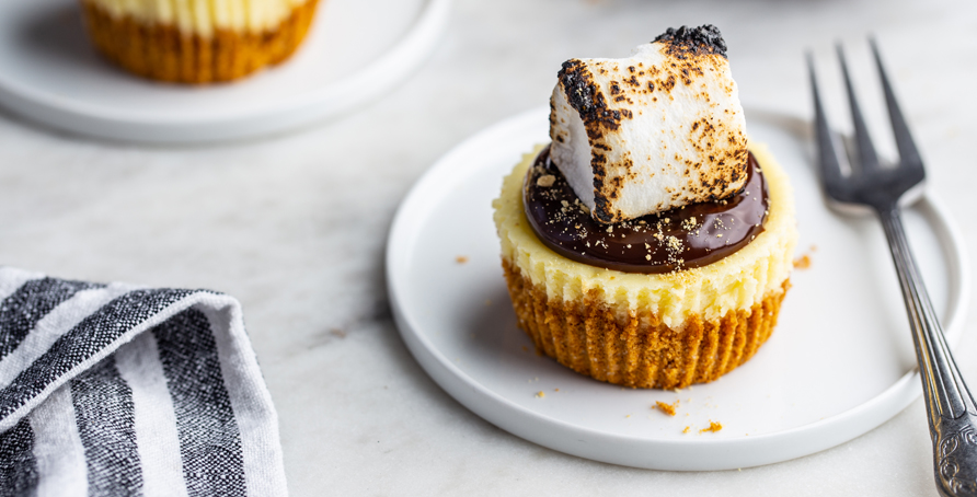 two mini s'mores cheesecakes on white plates