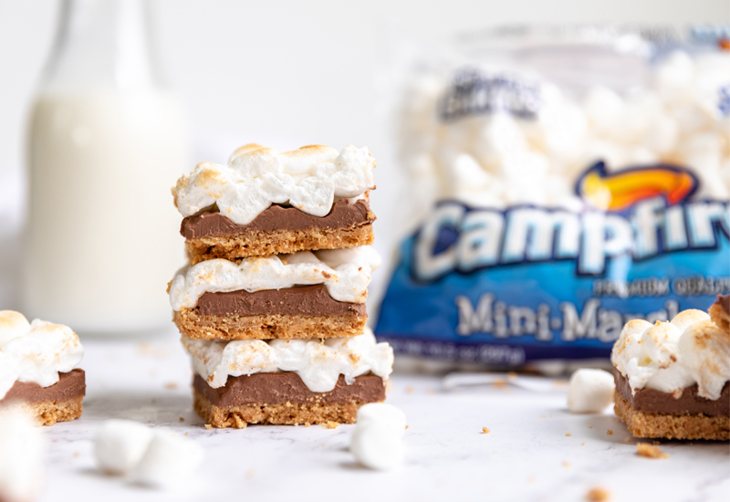 Campfire S'mores Bars with milk